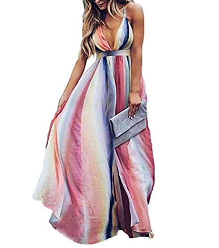 Backless Striped Dress Deep V Sundress Maxi Dresses Colorful Striped Dress Beach Summer Sexy Dresses for Women (S,Style 3,)
