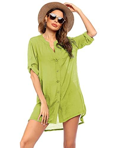 Ekouaer Women's Swimsuit Cover Ups Summer Casual Beach Shirt Dress Beachwear,XX-Large