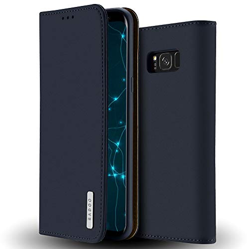 RADOO Galaxy S8 Hülle, Premium Echtes Leder Klapphülle Slim Lederhülle mit Standfunktion und Kartenfach TPU Innenraum Hülle Schlanke Ledertasche Handyhülle für Samsung Galaxy S8 (Blau)