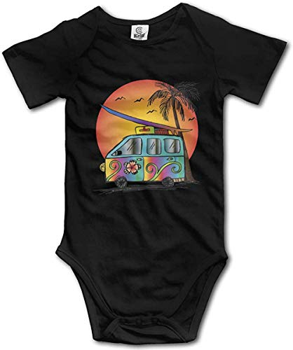 WlQshop Body Bébé Garçon Fille, Rainbow Hippie Sunset Surf Baby Rompers Short Sleeve Gentleman Bodysuit
