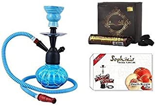 JaipurCrafts Combo of 12 Inch Glass, Iron Hookah, 10 Hookah Charcoal Disk Hookah Flavour(100% Nicotine and Tobacco Free)