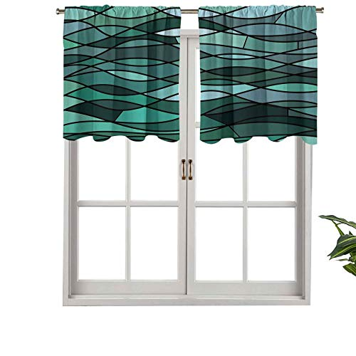 Hiiiman Indoor Privacy Window Valance Curtain Panel Abstract Mosaic Waves Ocean Inspired Expressionist Pattern Marine Desi, Set of 1, 36'x18' for Sliding Patio Door/Dining