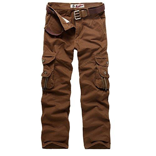 """AYG Pantalones de carga Multi Pocket camuflaje pantalones de trabajo de algodón para Hombres W36/L33(ES 46)36""""cintura/33""""inseam Rojo(red Coffee)"""