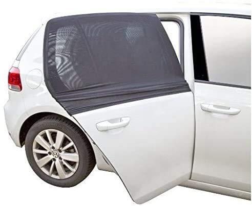 WOPUS Parasol de coche ajustable de uso general, adecuado para aislar los rayos ultravioleta, insectos bebé, cortinas de malla transpirable para coche, cubierta de techo (Cubierta de ventana negra XL)