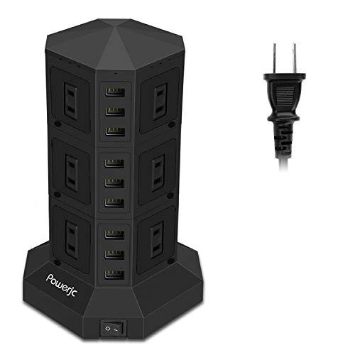 電源タップ 縦型コンセント タワー式 オフィス・会議用 USB急速充電 3m スイッチ付 12口 3層 Powerjc [並行輸入品]