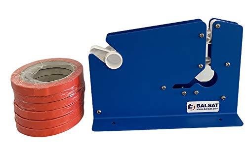 Maquina Cierra Bolsas Precintadora Bolsas Azul Lacada + 6 Rollos Rojos