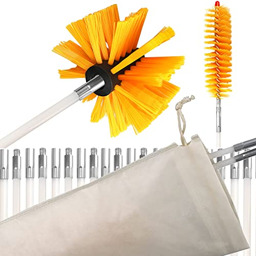 """30 Feet Dryer Vent Cleaner Kit Lint Remover 30ft Dryer Duct Clean Brush Set w/ 23 Flexible Nylon Rods, 4"""" Synthetic Brush Head,1 1/2"""" Lint Trap Brush and a Storage Bag, use with or without Power Drill"""