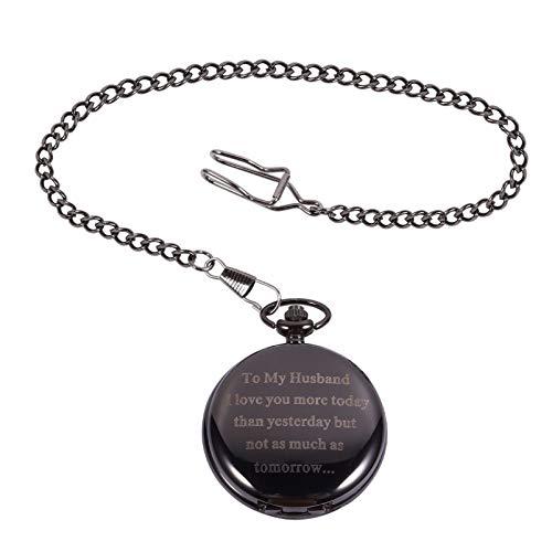 Balacoo Relojes de Bolsillo para Hombres- Reloj de Bolsillo de Moda Grabado a Mi Reloj de Bolsillo Regalo de San Valentín para El Marido Marido