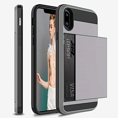 OPXZPM Carcasa de telefono Funda para teléfono con Billetera. para iPhone 6 6S 7 8 Plus TPU a Prueba de Golpes Capa para iPhone X XS MAX XR Funda, Gris, para iPhone 8 Plus