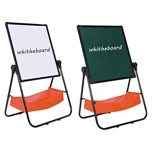 Makkalen Adjustable Art Easel Whiteboard&Chalkboard Double Sided Stand for Kids(Black)