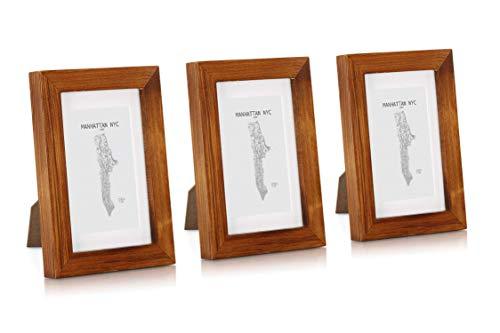 Classic by Casa Chic - Echtholz Bilderrahmen - rustikales Braun- 3er Set - mit Passepartout - Rahmenbreite 2cm
