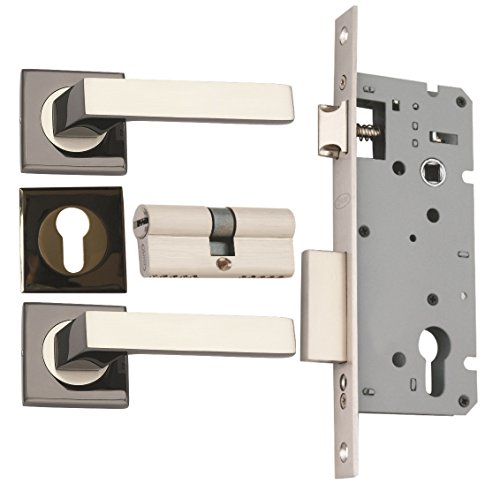 Spider Zinc Concealed Mortise Lock Set with Black Silver Finish WCLZBS + ZZ09CBS