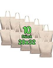 10 stuks 28 x 32 cm katoenen tassen, midi, jute zakjes, natuurlijke apothekerstas, draagtas, set, tas, geschenktas, Oeko-Tex®-gecertificeerd stoffen tas, onbedrukt, klein handvat om te beschilderen en te bedrukken, 10 stuks