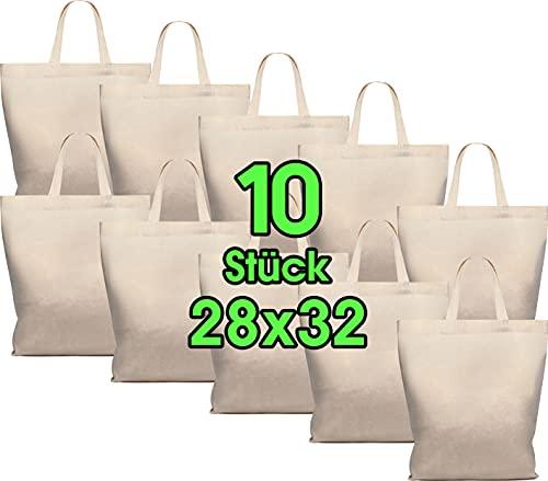 Funda de algodón 28 x 32 cm 10 unidades - Yute bolsa Medio - Natural farmacia funda, bolsa, hilo bolsa bolsa de regalo por Öko-Tex plástico funda sin texto impreso, corto Asa para pintar y Imprimir