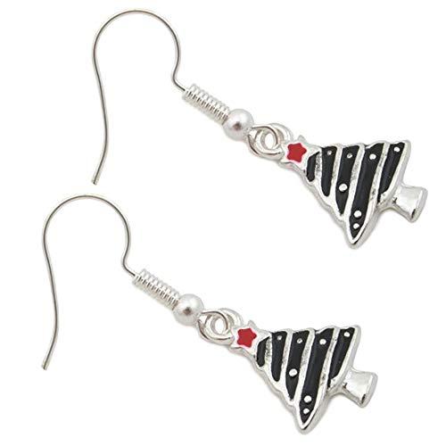 GAKIN - 1 paio di orecchini a gancio per orecchie a forma di albero di Natale, design moderno per lobi forati, pannelli smaltati in argento nero