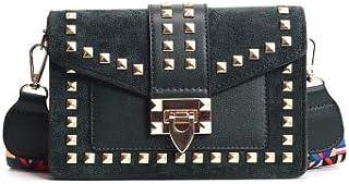 Adebie - 2019 New Wide Shoulder Bags Strap Small Square Fashion Rivet Crossbody Bag Female Handbags PU Solid Messenger Bags for Women Green []