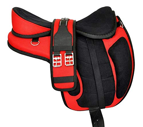 """Wonder Wish Micro Fiber Red Horse FREEMAX Treeless Saddle Tack Get Matching Girth & Strap Size:- 12"""" to 18"""" Inch Seat Available (17 Inches Seat)"""