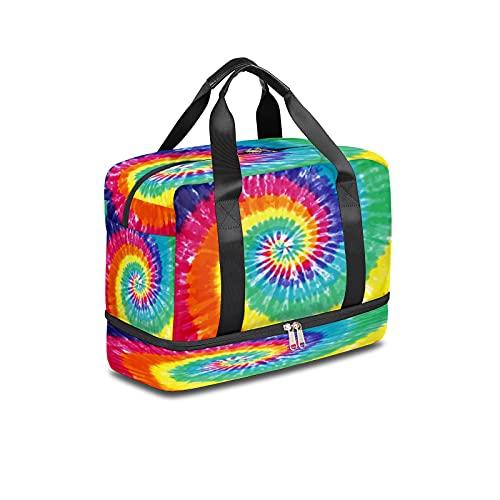 BOLOL - Bolsa de viaje con tinte anudado para deportes, bolsa de gimnasio, tribal étnica para hombre y mujer