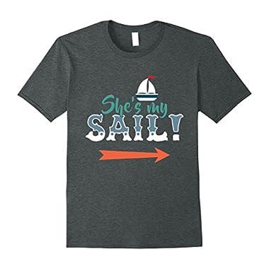 Mens She's My Nautical Couple T-Shirt Large Dark Heather
