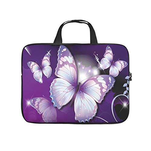 magic pink butterfly Laptop bag Pattern Laptop Case Bag Colorful Anti-Static Laptop Sleeve with Portable Handle for Women Men white 10 zoll