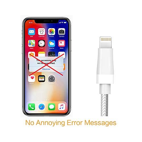 Kinps Apple MFi Cable Lightning a USB de nailon trenzado para iPhone Cable Super Long Compatible con iPhone X/8/8 Plus/7/7 Plus/6S/6S Plus, iPad Pro/Air/Mini