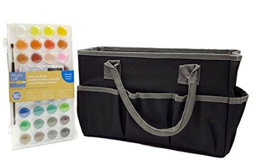 Artist's Loft Fundamentals Craft Tote Bag Storage (Bundle set Pack) and Watercolor Pan Set 36 Color
