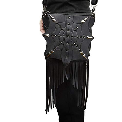 Sometubien Bolso Negro Bolso de Cuero de la Motocicleta de la PU Motocross Mujer Bolso de Viaje de borlas de Viaje multifunción. Black