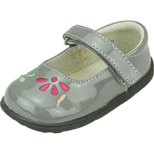 See Kai Run Girls' Ginny Mary Jane Flat, Gray Patent, 4 M US...