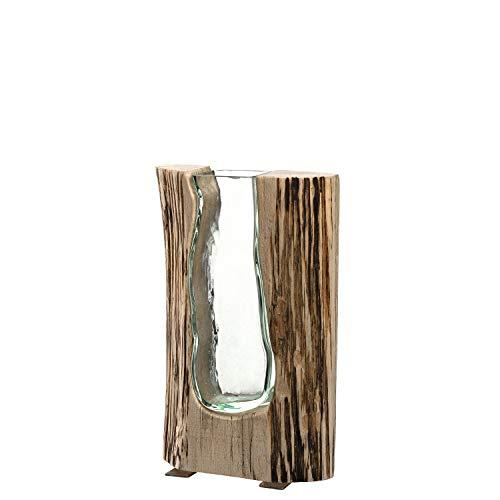 Leonardo Casolare Holz-Vase, handgefertigte Deko-Vase, formschöne Blumen-Vase aus Holz und Glas, Höhe: 255 mm, 038509
