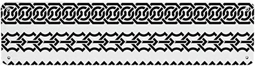 NoBrands Letrero de lata funcional irlandés, vintage con bordes en forma de adornos clásicos celtas, patrón de rayas horizontales, 10 x 45 cm, para decoración de pared de casa, cafetería, bar, pub