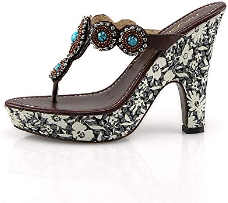 HOESCZS Beste Qualität Marke Schuhe Frauen Flip Flops Echtes Leder Leder Leder High Heels Plateauschuhe Frau Lässige Sommer Hausschuhe,  707ba4