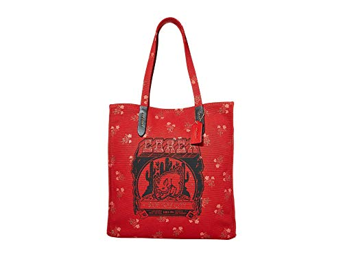 COACH Canvas Tote w/Pig Motif Red One Size