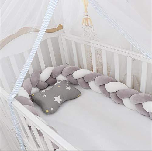 Chytaii Protector de cuna para bebé, 3 rayas, cojín trenzado con nudo, cojín trenzado para cuna, cojín para cuna, color gris + blanco + gris