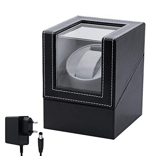 Mcbazel Caja de Relojes Automaticos Estuche para 1 Relojes, Watch Winder de Cuero PU Super Silencioso Caja Organizadora - Enchufe de la UE