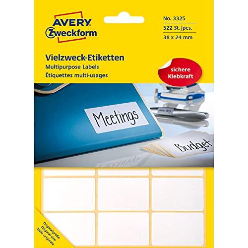 Preisvergleich Produktbild Avery Zweckform 3325 Haushaltsetiketten selbstklebend (38x24mm,  522 Aufkleber auf 29 Bogen,  Vielzweck-Etiketten für Haushalt,  Schule und Büro zum Beschriften und Kennzeichnen) blanko