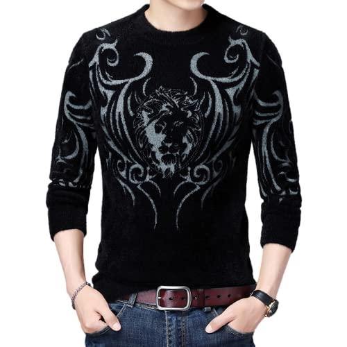 Xenwang Suéter de Cuello Redondo con Estampado de patrón de Personalidad para Hombre, suéter Informal de Moda Popular para Todos los Partidos 3XL