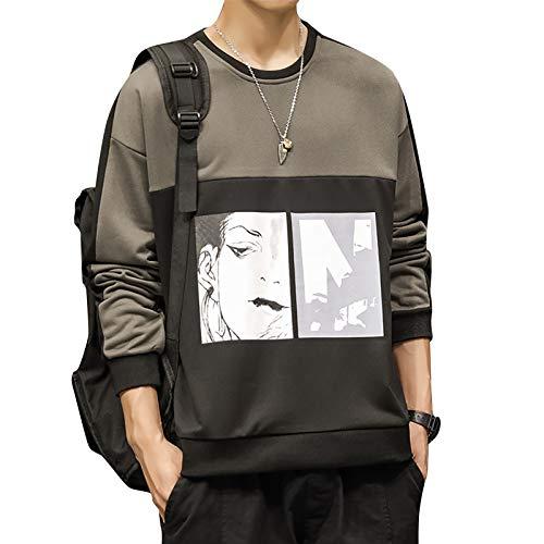 Masrin Herren Sweatshirt Mode Kontrast Farbe Patchwork Print Pullover Rundhalsausschnitt Langarm Loose Tops Bluse (XXL,Schwarz)