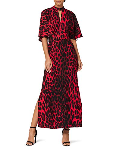 Marchio Amazon - Truth & Fable Vestito con Apertura Donna, Rosso (Red Red), 42, Label: S