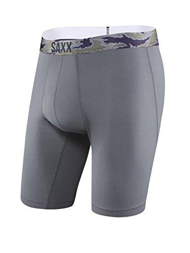 Preisvergleich Produktbild SAXX Underwear Co. Boxershorts Quest Boxershorts mit langem Bein und integriertem Ballpark-Beutel unterstützen längere Unterwäsche Small Dunkle Holzkohle