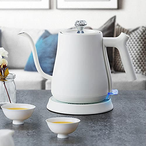 Electric Gooseneck Kettle, Pour Over Coffee Kettle Hand Drip Kettle Narrow Spout Premium Stainless Steel Gooseneck Tea Kettle Capacity 0.6L/1500W Kitchen and Home/White
