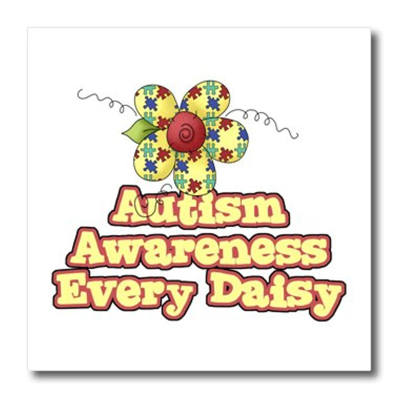 3dRose ht_113515_1 Autism Awareness Every Daisy (Day) Awareness Ribbon Cause Design-Iron on Heat Transfer for Material, 8 by 8-Inch, White