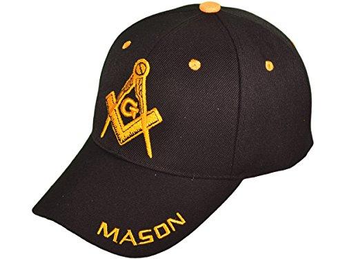 AborenCo Freemason Mason Symbol Adjustable 3D Embroidery Baseball Cap Hat (Black)