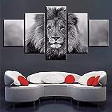shuyinju (Nessuna Cornice) Animali in Bianco E Nero Quadri Modulari su Tela Art 5 Pezzi Decorazioni per Poster di Leone Decorazioni per Pareti inCamera HD