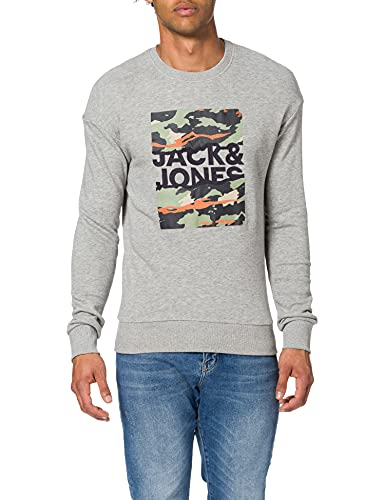 Jack & Jones JORCAMERON Sweat Crew Neck Sudadera, Gris Claro. Ajuste: Relajado, M para Hombre
