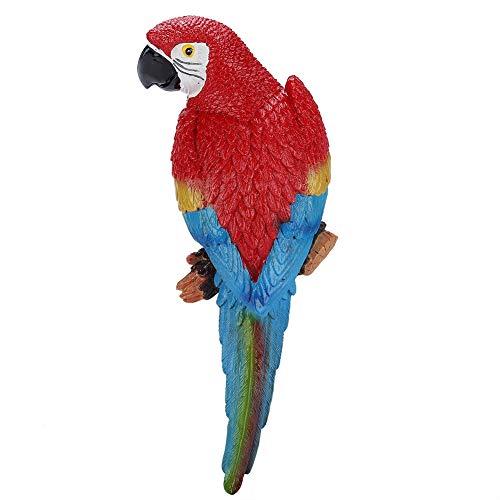MAGT Simulación de Loro Juguete Escultura Resina Realista Pájaro Ornamento Estatuilla Loro Modelo Juguete Jardín Escultura Decoración de La Pared (Derecho Rojo)