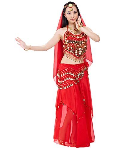 G-like BellyQueen Tanz Kostüm Bauchtanz Kleid - Orientalischer Tanz Arabisch Sexy Professionelle Farbenreiche Kleidung Set Outfit für Tänzerin Damen - Chiffon - 5 Stück (Rot)