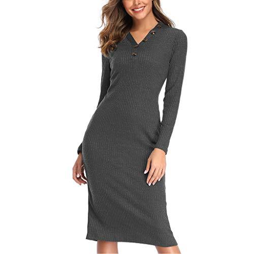 feiXIANG Damen Elegant Pulloverkleid Lange Hülse Frauen Plus Size Strickkleid Basic(A-Grau,M)