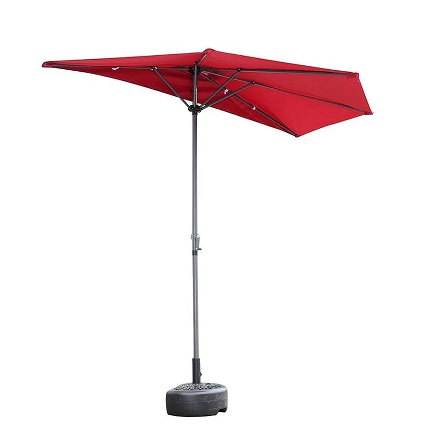 思春期実験室着替えるパラソル バルコニーパティオ クランクハンドルが付いている壁の半分の日傘の半円形の傘、スモールテラスガーデンUVカット用日陰、2.7m(9フィート) (Color : Wine Red)