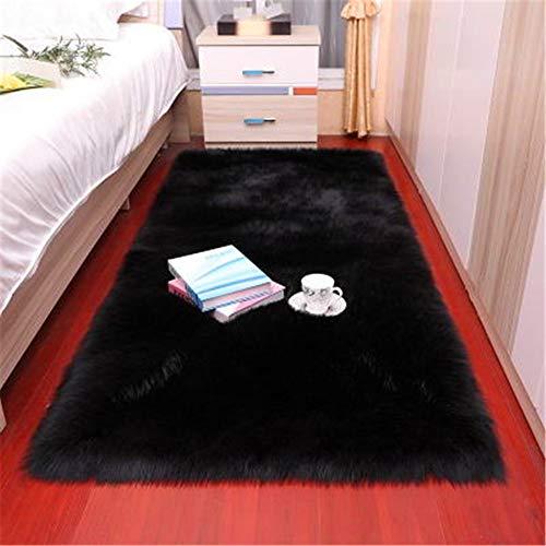 laizan Kunstpelz Lammfell Teppich, Wollteppich, Flauschige Wohnzimmer Schlafzimmer Teppich Sofakissen,YogaMatte,Schwarz-100x180cm Rechteck