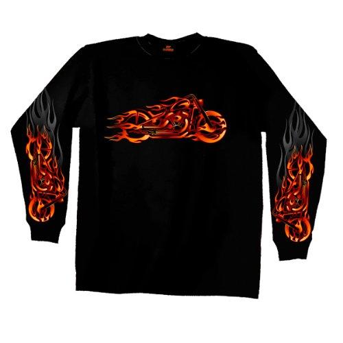 Hot Leathers Fire Bobber Long Sleeve T-Shirt (Black, XX-Large)